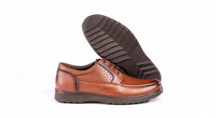 کفش طبی مردانه مدل کلارک بنددار عسلی